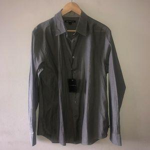 John Varvatos USA L Large Button Front Shirt Gray